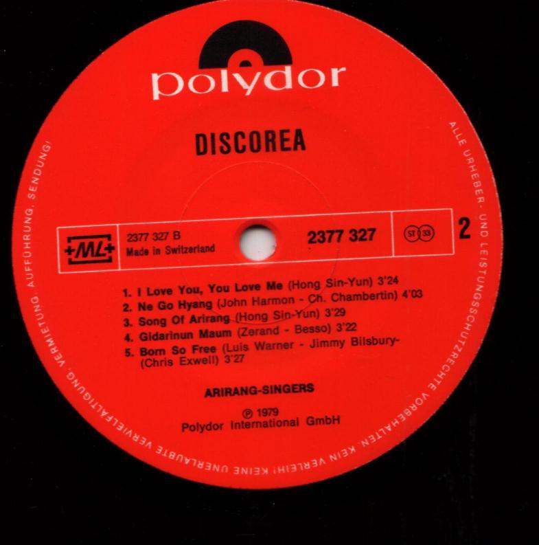 ARIRANG SINGERS Discorea 12 Inch Vinyl LP (Swiss) Polydor